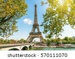 view on eiffel tower under... | Shutterstock . vector #570111070