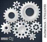 white 3d gears on the gray... | Shutterstock .eps vector #570112450