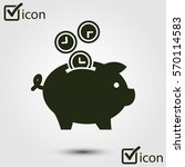 time is money piggy bank icon.... | Shutterstock .eps vector #570114583