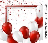 3d balloons with confetti and... | Shutterstock .eps vector #570118060