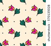 hand drawn floral pattern in... | Shutterstock .eps vector #570135028