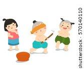 children enjoy playing blind... | Shutterstock .eps vector #570140110