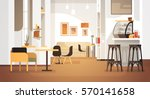 Modern Cafe Interior Empty No People Restaurant Flat Vector Illustration | Shutterstock vector #570141658