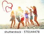 friends dancing at beach | Shutterstock . vector #570144478