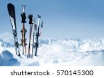 skis in the snow | Shutterstock . vector #570145300
