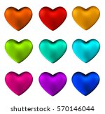 colorful heart set isolated on...