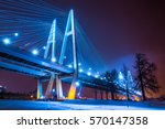 night bridge with lights. cable ... | Shutterstock . vector #570147358