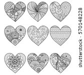 nine zendoodle stylized hearted ... | Shutterstock .eps vector #570148228