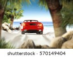 car on beach and summer time  | Shutterstock . vector #570149404