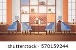 Modern Cafe Interior Empty No People Restaurant Flat Vector Illustration | Shutterstock vector #570159244