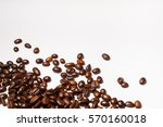 roasted coffee beans on white... | Shutterstock . vector #570160018
