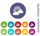rainbow and clouds set icons in ... | Shutterstock .eps vector #570160720