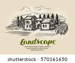 country house  building sketch. ... | Shutterstock .eps vector #570161650