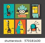 set of six retro postage s... | Shutterstock .eps vector #570181630