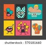 set of six retro postage s... | Shutterstock .eps vector #570181660