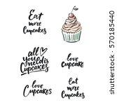sweet cupcake print. lettering. ... | Shutterstock .eps vector #570185440