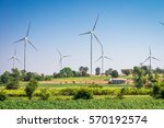 wind turbines generating... | Shutterstock . vector #570192574