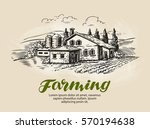 cottage  country house sketch.... | Shutterstock .eps vector #570194638
