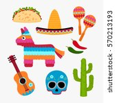 set of mexico symbol in a... | Shutterstock .eps vector #570213193