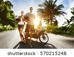 young couple with motorcycle... | Shutterstock . vector #570215248