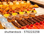 colorful fine  french pastries...   Shutterstock . vector #570223258