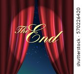 curtain red. the end message. ... | Shutterstock .eps vector #570226420