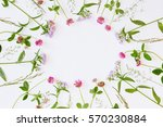 frame with fresh wildflowers... | Shutterstock . vector #570230884
