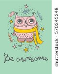 vector card with cute hipster... | Shutterstock .eps vector #570245248