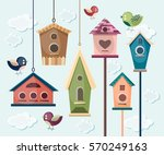 collection of colorful birds... | Shutterstock .eps vector #570249163
