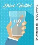 man hand holding water h2o... | Shutterstock .eps vector #570249448