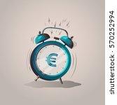 euro sign cartoon alarm clock.... | Shutterstock .eps vector #570252994