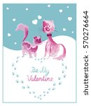 greeting card with valentine's... | Shutterstock .eps vector #570276664