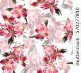 floral pattern blossom lilies... | Shutterstock . vector #570277810