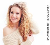 portrait of beautiful happy...   Shutterstock . vector #570282454