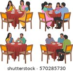 restaurant tables with indian... | Shutterstock .eps vector #570285730