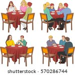 restaurant tables with people... | Shutterstock .eps vector #570286744