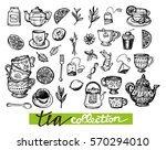 hand drawn tea time collection. ... | Shutterstock .eps vector #570294010