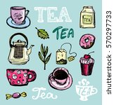 hand drawn tea time collection. ... | Shutterstock .eps vector #570297733