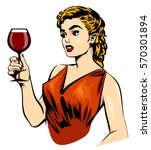 vintage elegant woman with wine | Shutterstock . vector #570301894