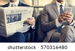 business men break sit read... | Shutterstock . vector #570316480
