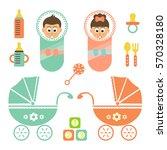 cartoon cute little babys set    Shutterstock .eps vector #570328180