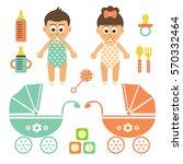 cartoon cute babys set   Shutterstock .eps vector #570332464