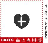 health hearth cross icon flat....