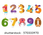 set of cartoon animal numbers... | Shutterstock .eps vector #570333970