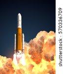 heavy rocket in the clouds of... | Shutterstock . vector #570336709