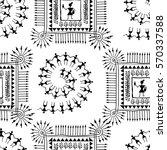 warli painting seamless pattern ... | Shutterstock .eps vector #570337588