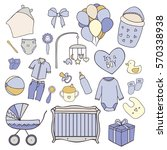 baby boy hand drawn doodle set... | Shutterstock .eps vector #570338938