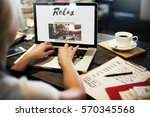 coffee time break cafe leisure... | Shutterstock . vector #570345568