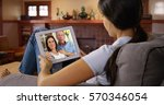 young white woman talking to... | Shutterstock . vector #570346054