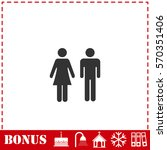 man and woman icon flat. simple ... | Shutterstock . vector #570351406